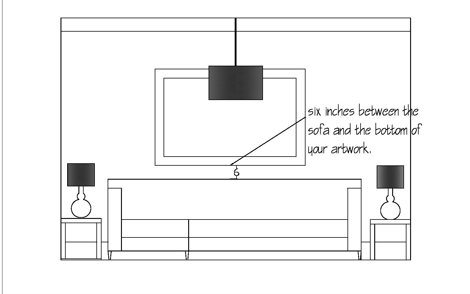 How to hang artwork over a sofa