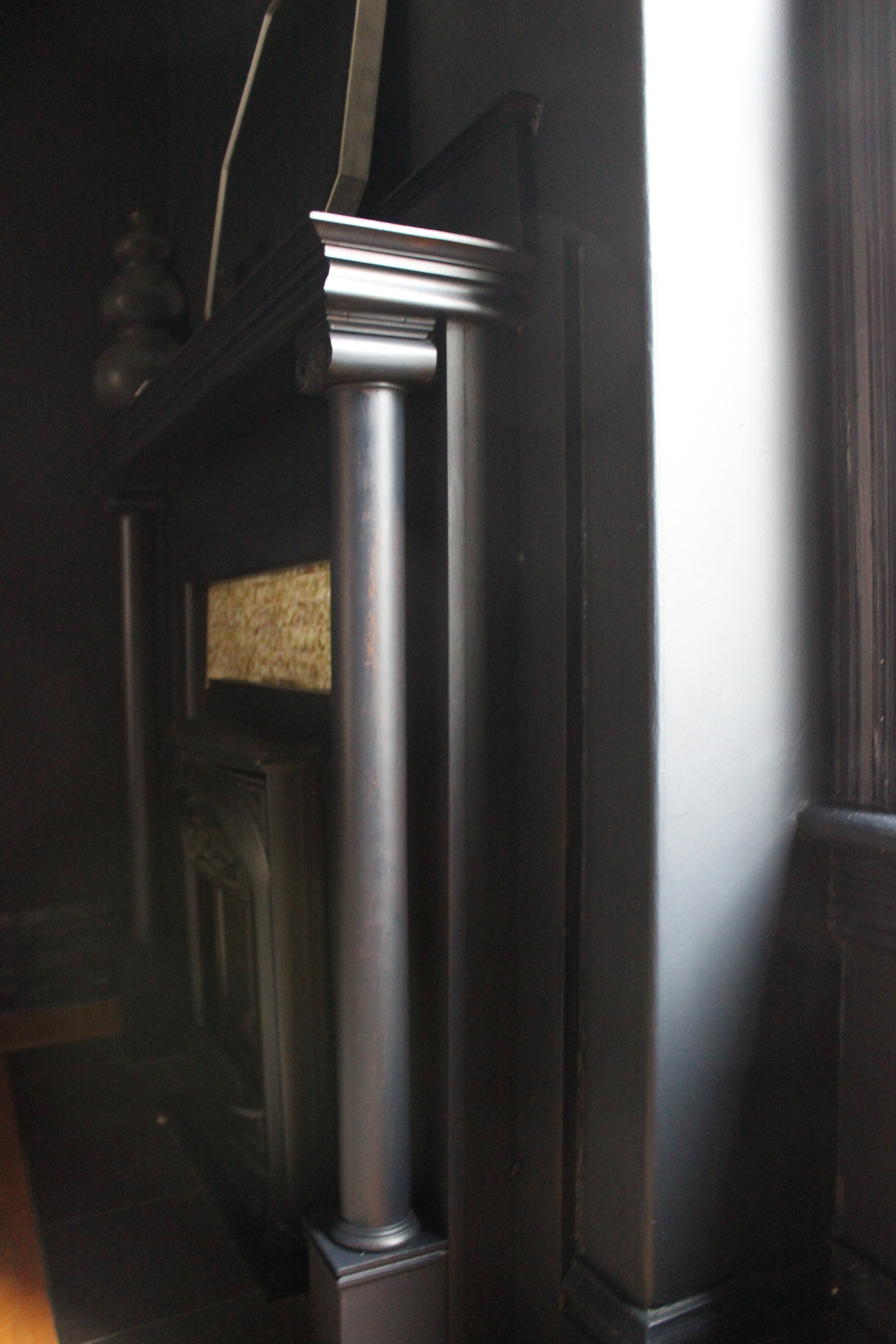 One Room Challenge BM Soot Painted Fireplace