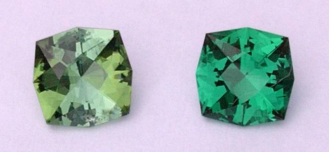 Matching North by Northwest designs in pleochroic tourmaline (left) and synthetic emerald (right) ca. 1 ct