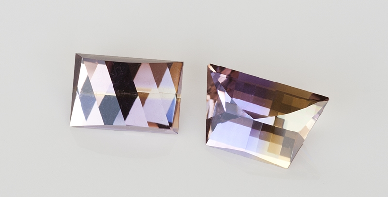 Two Ametrines showing the effects of colour separation