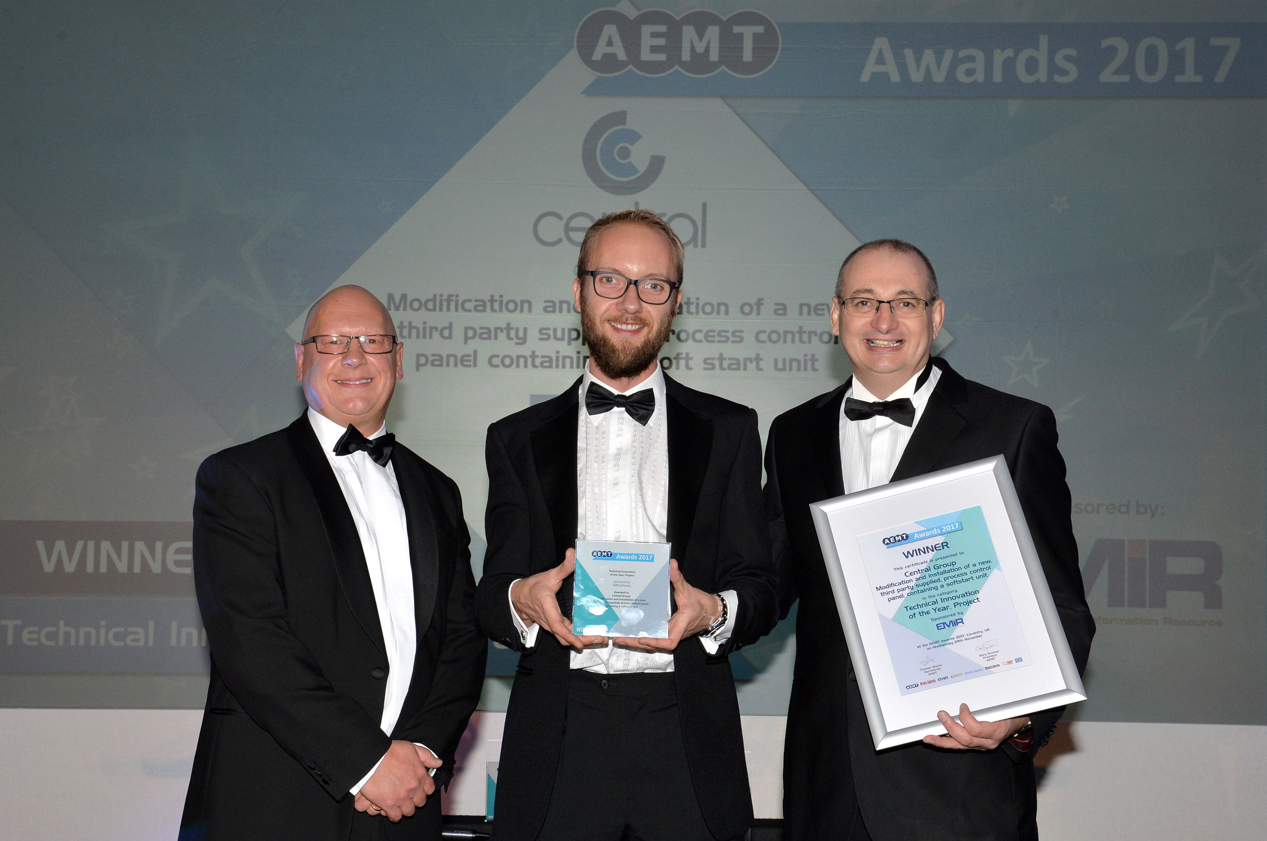 Pictured from left to right:   Andrew Castle, Touchwave Media; Liam Brown, Central Group; and Steve Ashman, EMIR Software (category sponsors)
