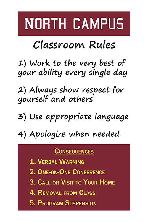 The Rules - This poster is in every North Campus classroom. Every student knows and understands the rules and the consequences.