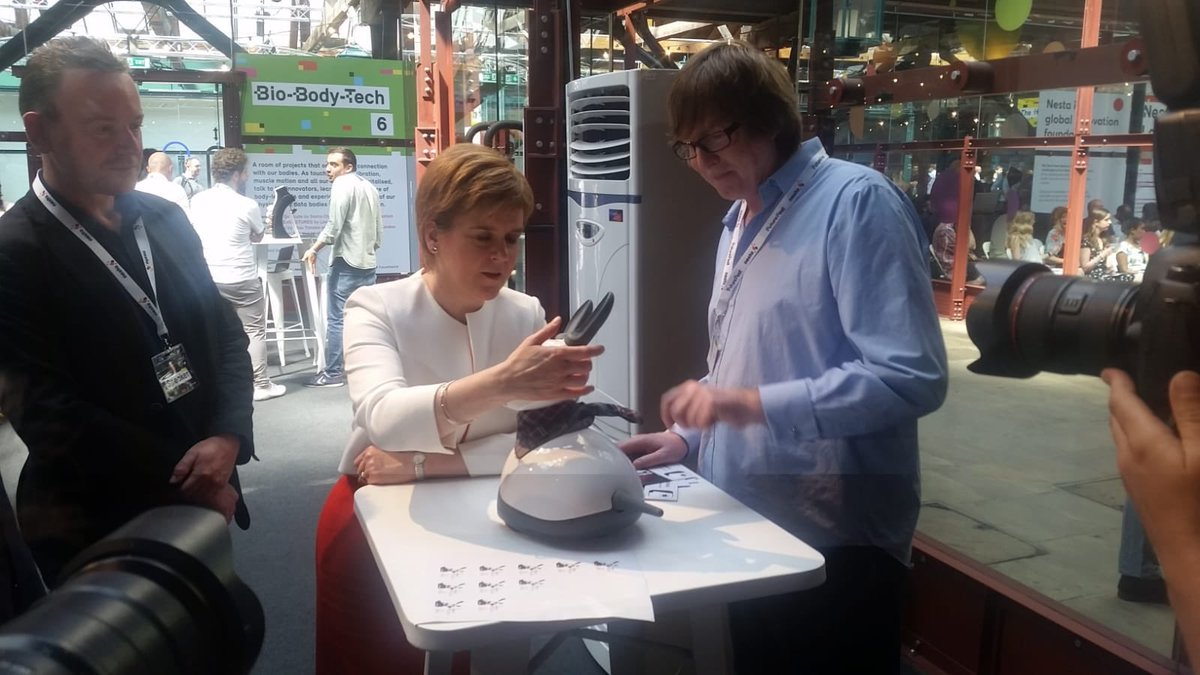 MiRo's new friend Nicola Sturgeon, the First Minister of Scotland seems to think that robots can be your friend!