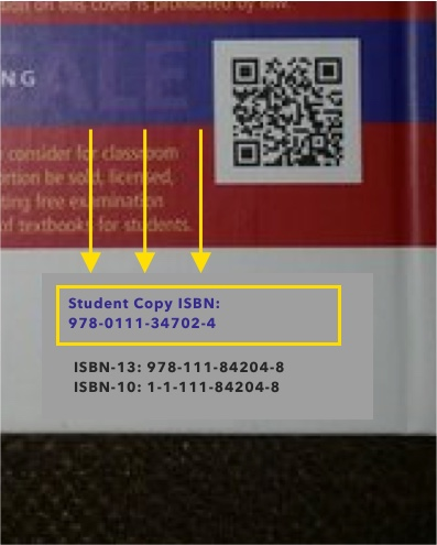 #2  - See if the student ISBN is on the back