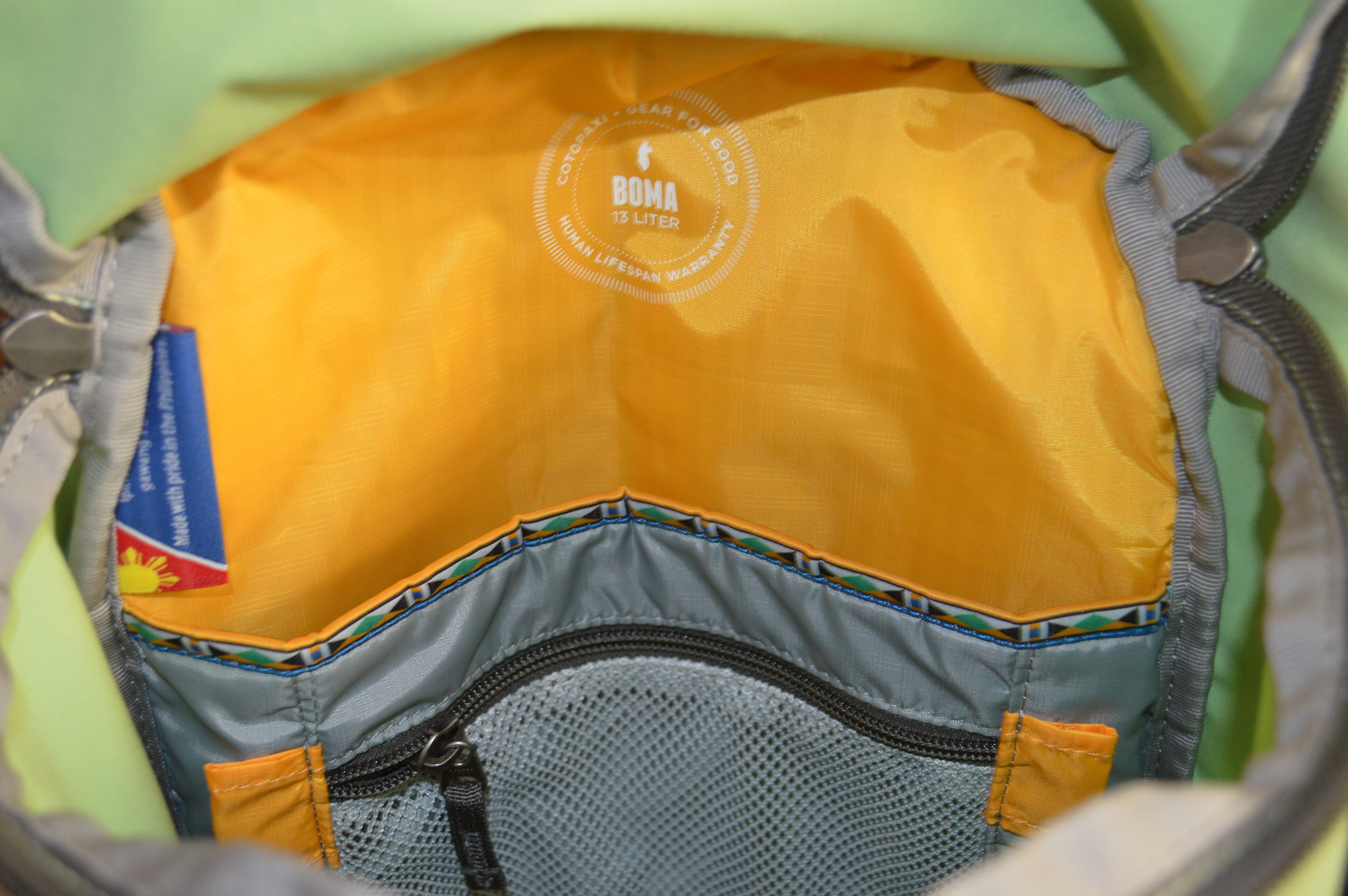 Inside of Cotopaxi Boma Daypack