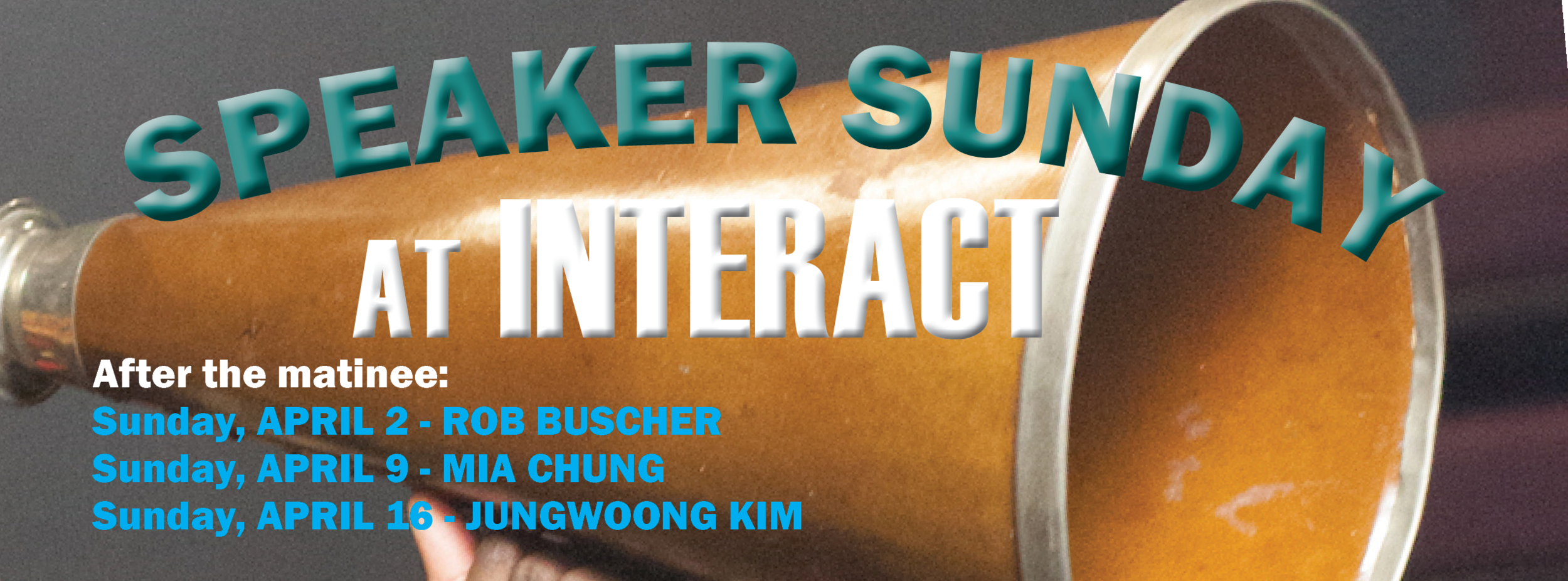 Don't miss dynamic speaker Rob Buscher, Playwright Mia Chung, and lauded choreographer Jungwoong Kim as part of our Speakers Sunday Series!