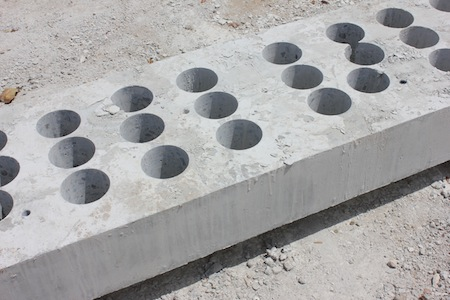 Samples taken from concrete to test