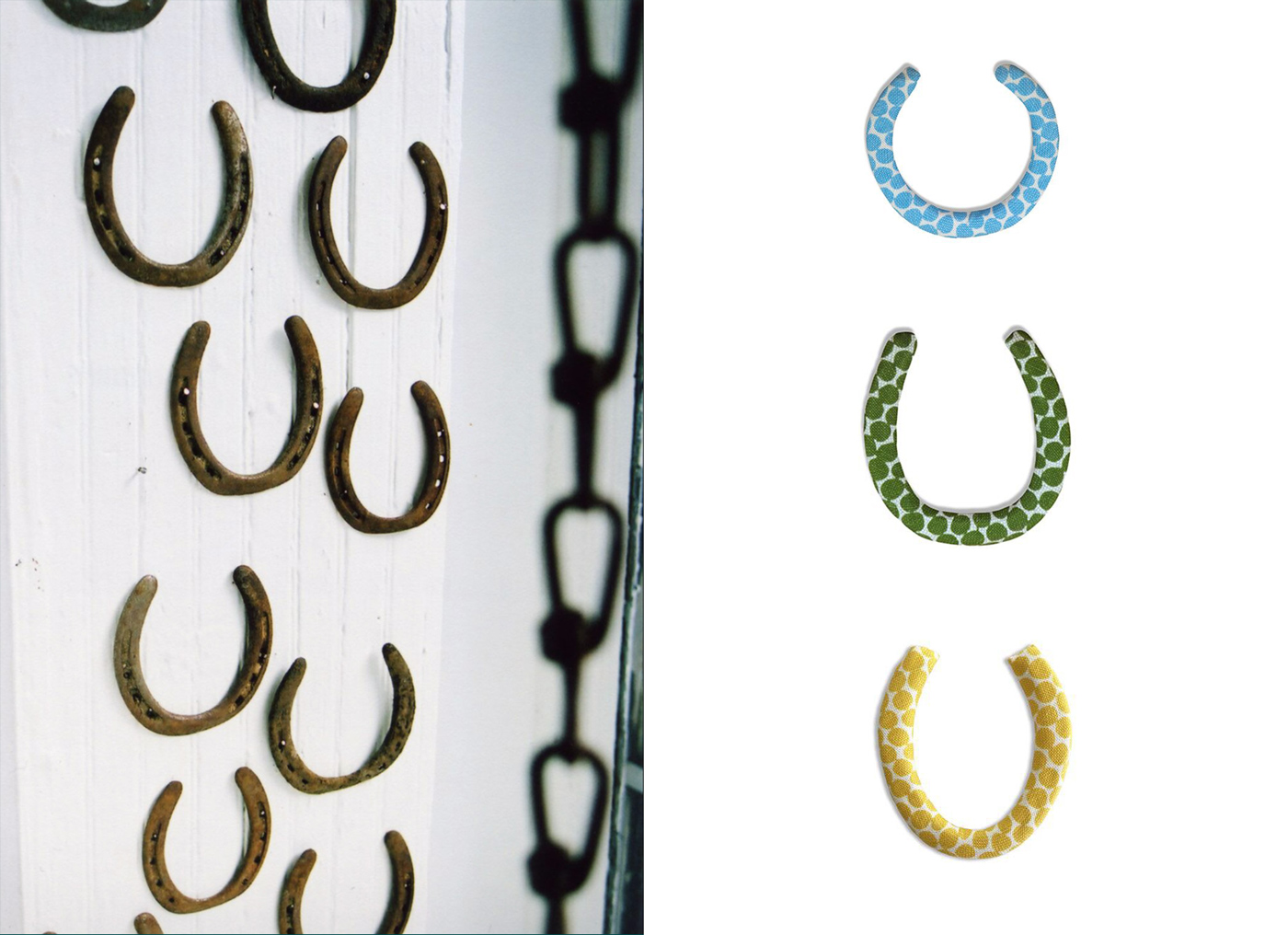 Left: A sampling of the authentic, recycled horseshoes that we use for our  horseshoe collection . Right: A variety of our horseshoes that are available in our handprinted fabrics. Including the  Blue Beads Horseshoe ,  Green Beads Horseshoe  and  Lemon Beads Horseshoe .
