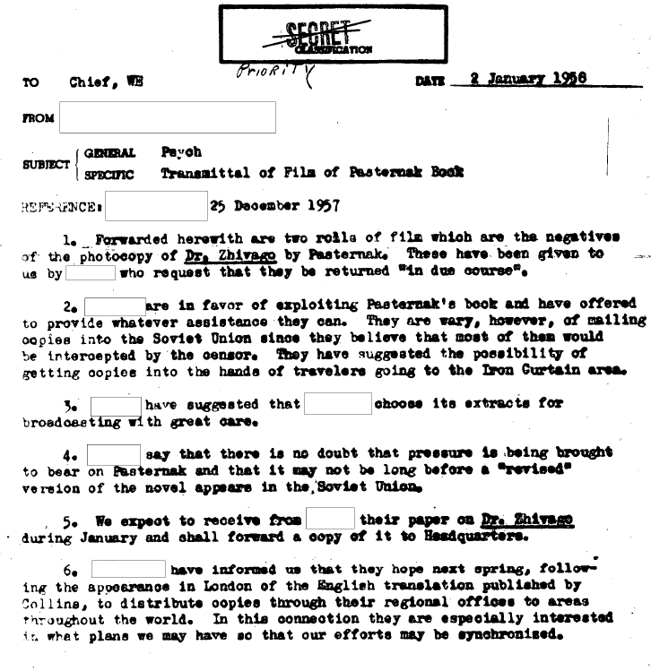 One of the many declassified CIA memos about the Zhivago mission