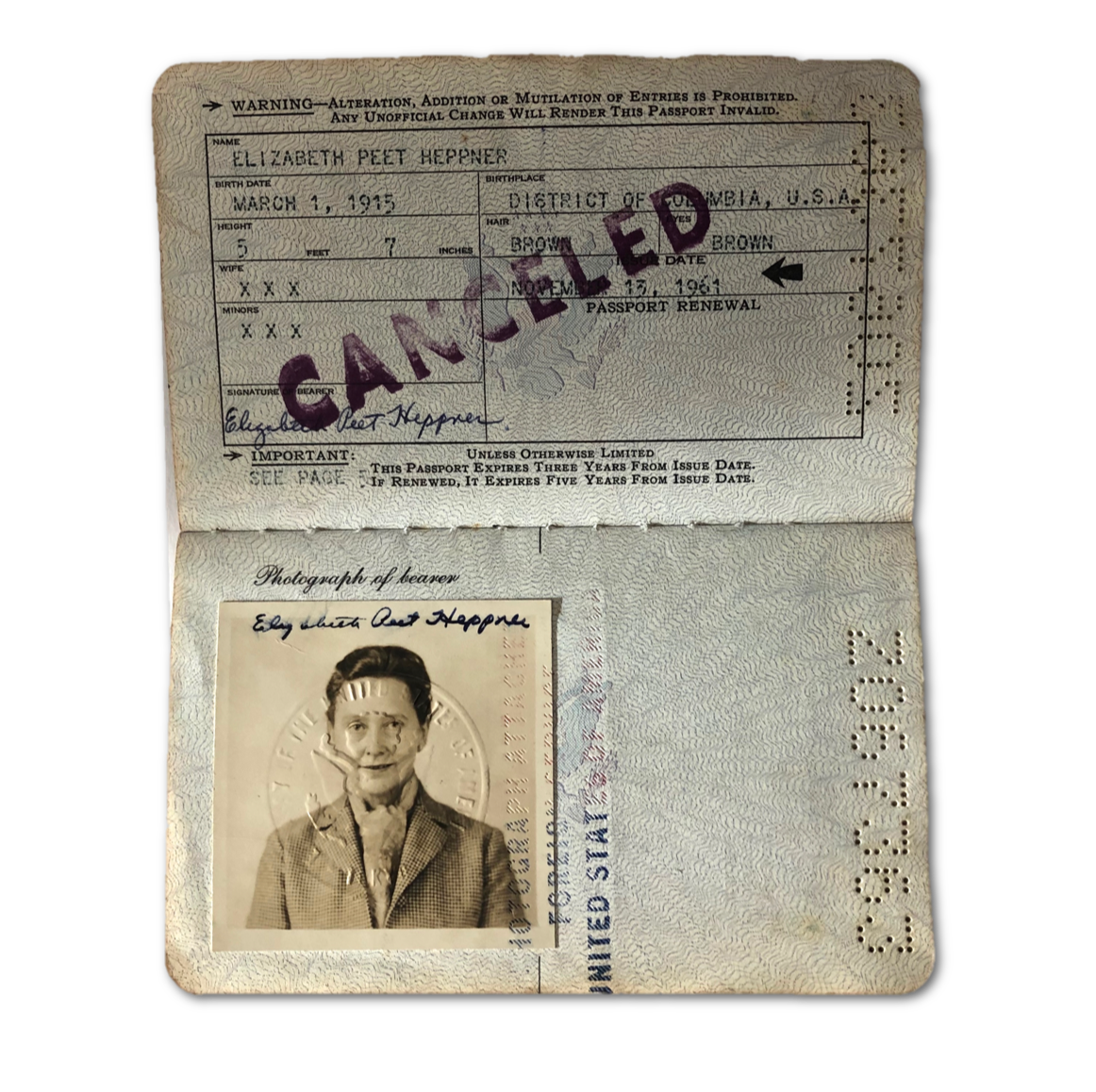 Actual U.S. passport owned by OSS and CIA spy Betty McIntosh, from the author's collection