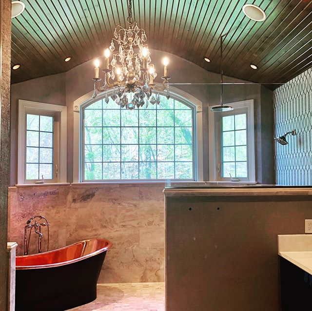 With ever visit this bathroom gets better and better.  Artistic wall finish complete ✅ Can hardly wait to see the sconces and cabinet handles installed... . . . . #kmhomedesigns #kmdesigns #bathroomdesign #hometohave #brightboldhome #choosejoy #interiorandhome #inspiremyinstagram #creativelifehappylife #dreamhome #creativityfound #calledtobecreative #homestyling #currentdesignsituation #howyouhome #finditstyleit #intentionalliving #inspire_me_home_decor #homeliving #interiorwarrior #interiorboom #interiorstruly #simplybeautifulliving #welllived #inspirationeveryday