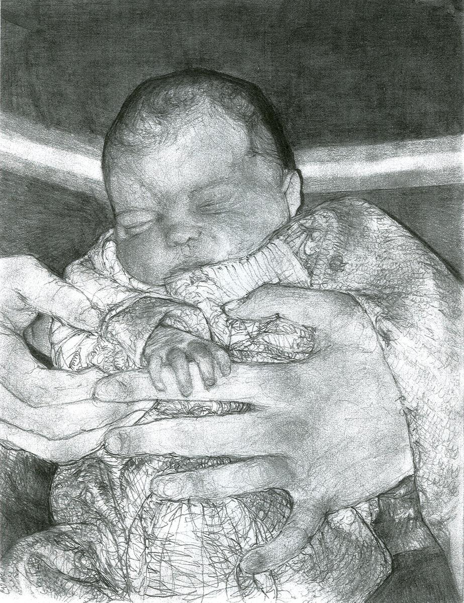 "Jayda, pencil, 11"" x 8"" - by Bly and Rowan Pope"
