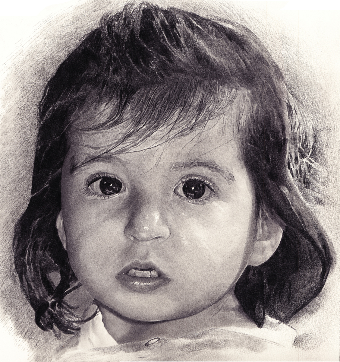 "Mia, pencil, 13"" x 11"" - by Rowan Pope"