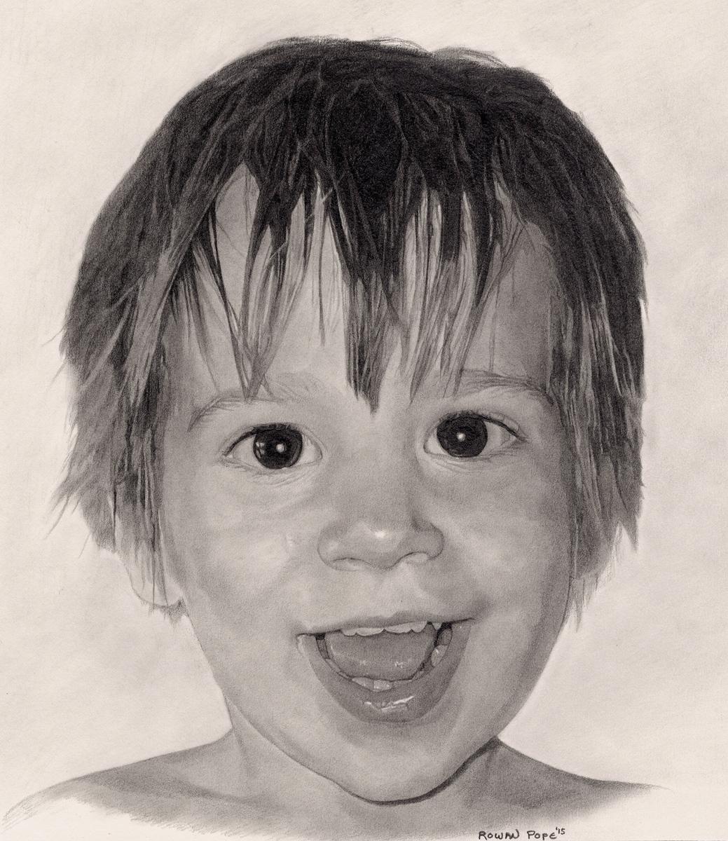 """Noah, pencil, 13"""" x 11"""" - by Rowan Pope"""