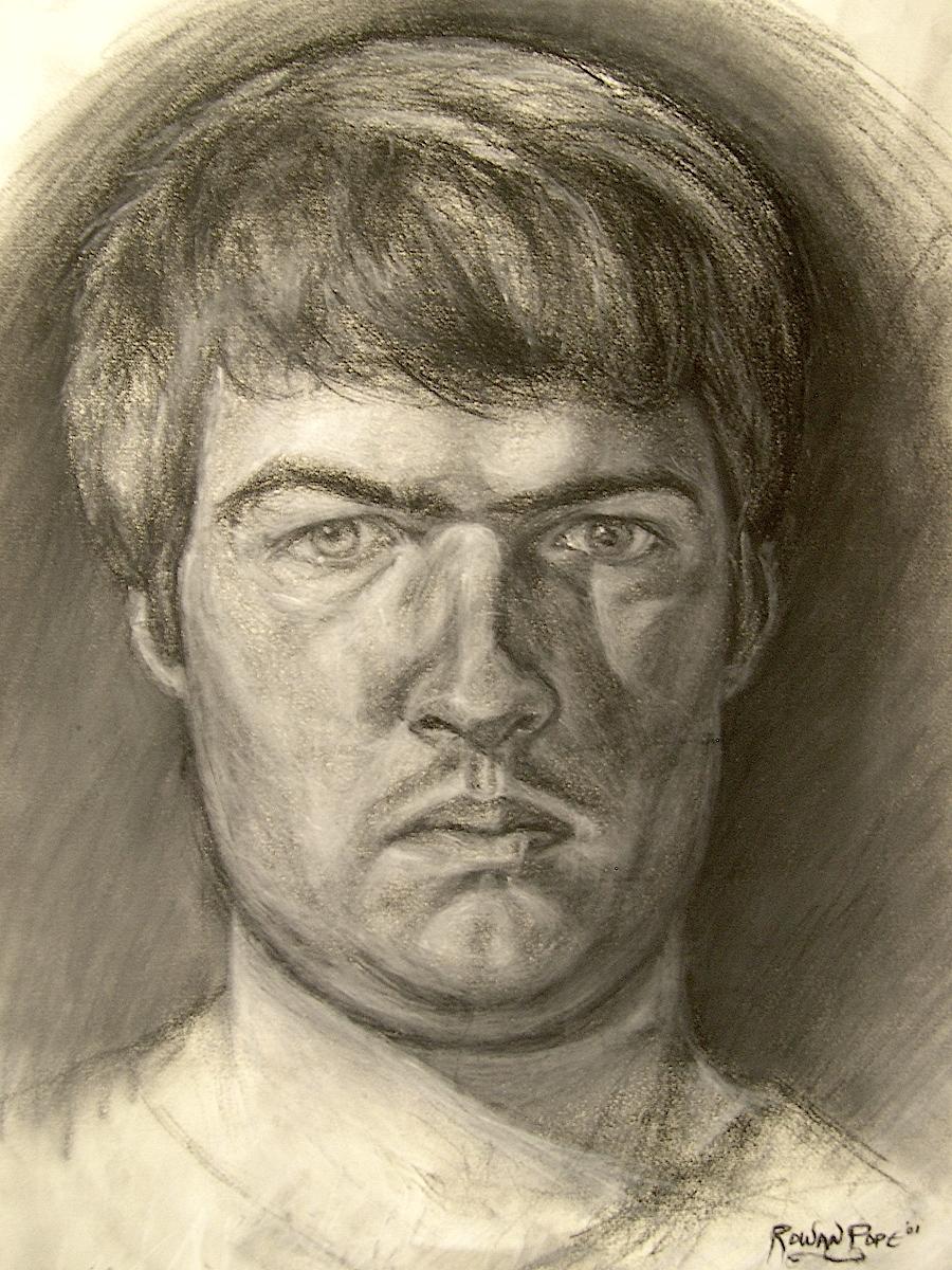"Self-Portrait, charcoal, 24"" x 18"" - by Rowan Pope"