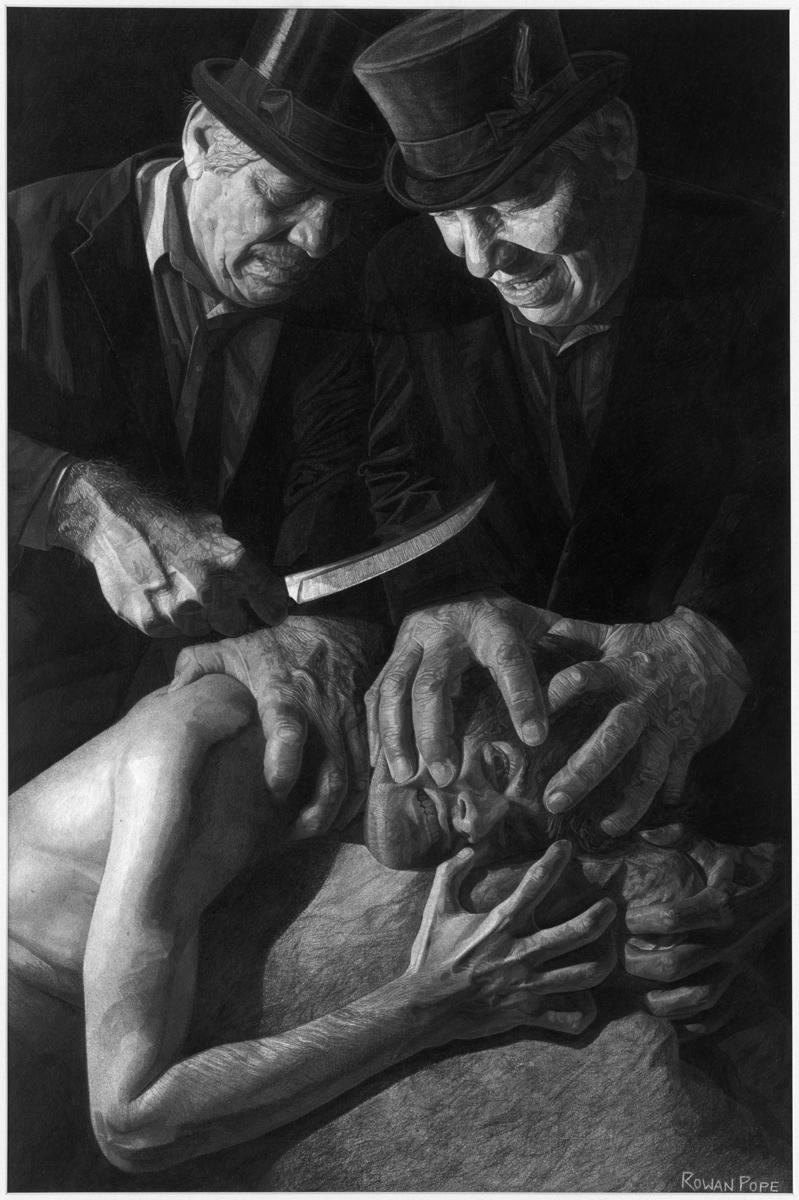 "Franz Kafka's The Trial, pencil, 26"" x 16"" - by Rowan Pope"