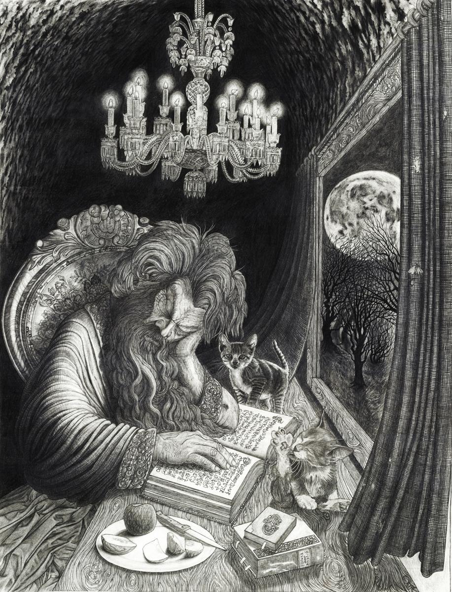 "Old Man, pencil, 19"" x 15"" - by Rowan Pope"