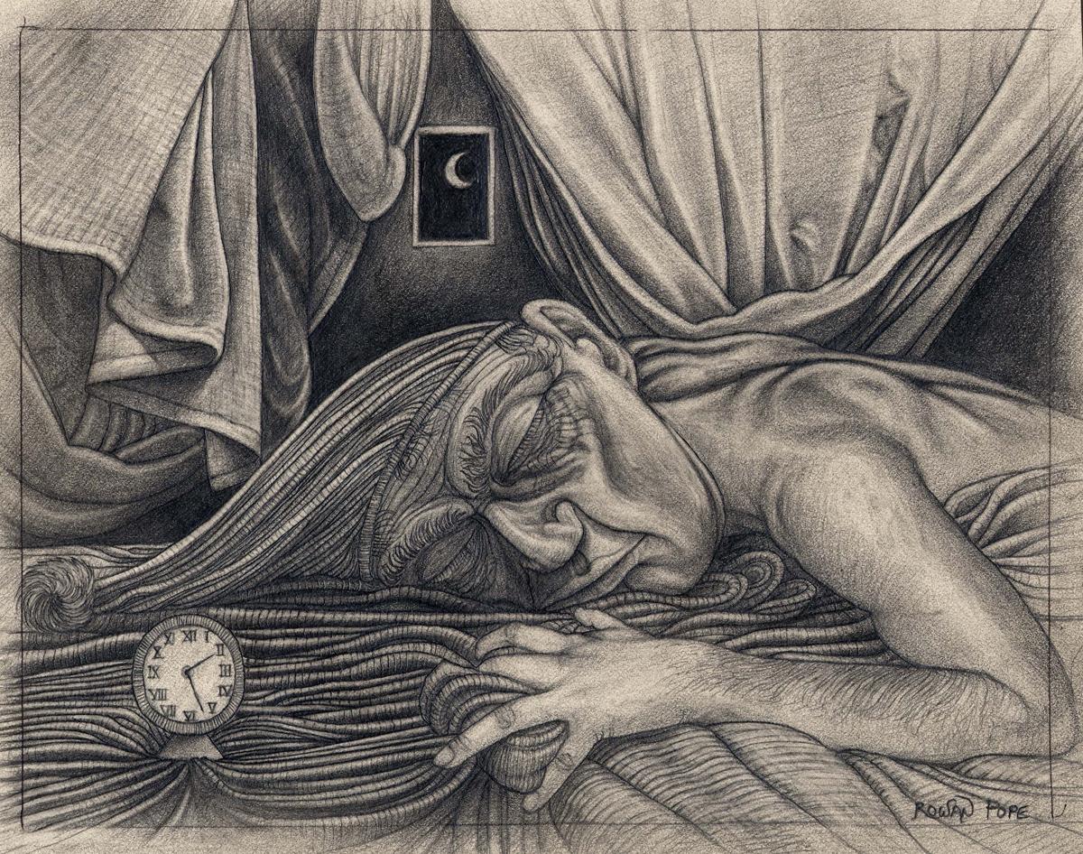 "The Sleeper, pencil, 7"" x 9"" - by Rowan Pope"