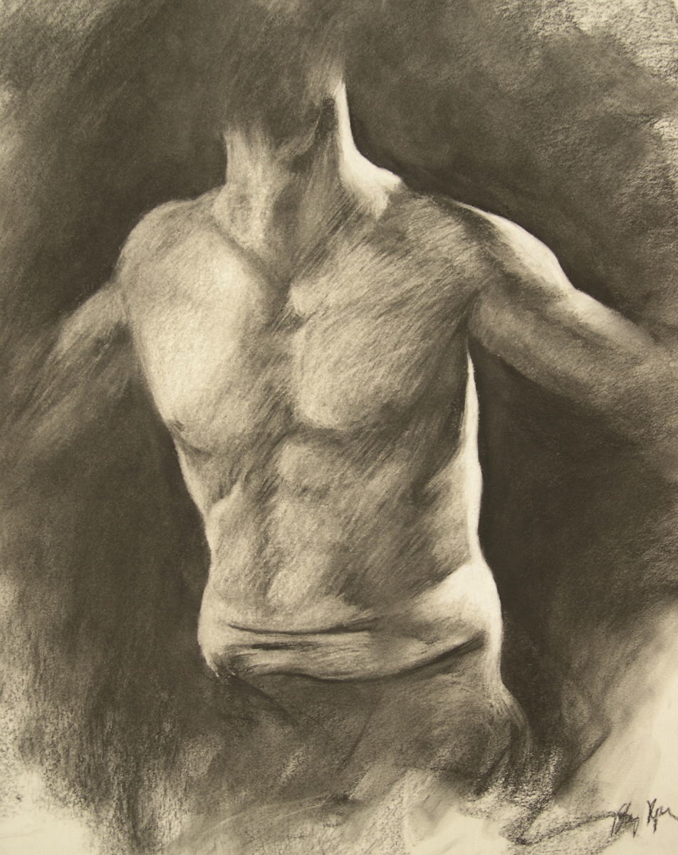 "Male Torso, charcoal, 24"" x 18"" - by Bly Pope"