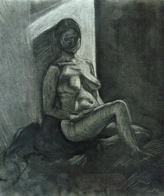 """Female Figure, charcoal, 22"""" x 17"""" - by Rowan Pope"""