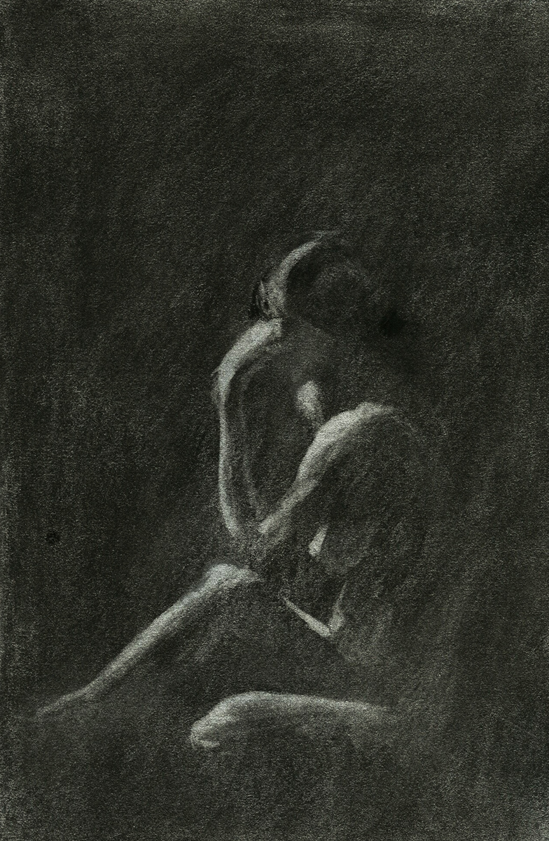 "Female Model 2, charcoal, 6"" x 4"" - by Bly Pope"