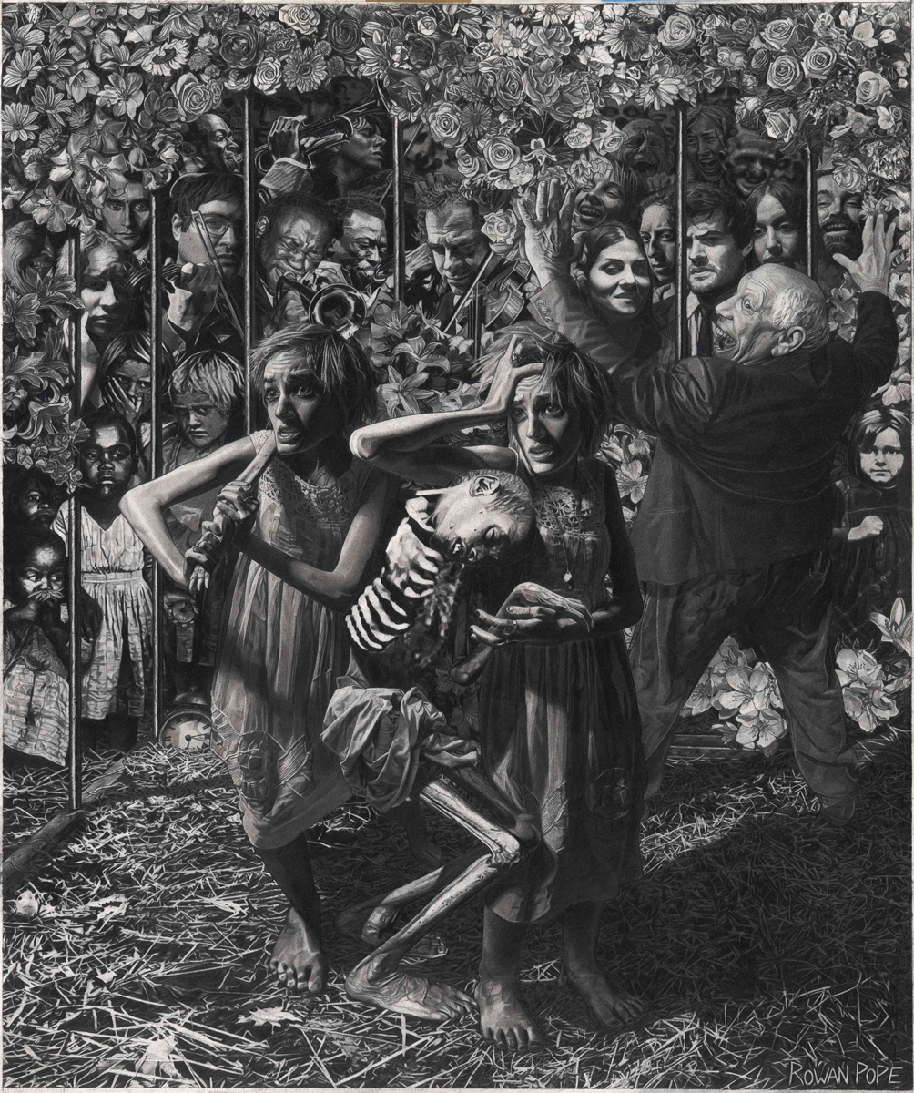 "A Hunger Artist, pencil, 32"" x 27"" - by Rowan Pope"