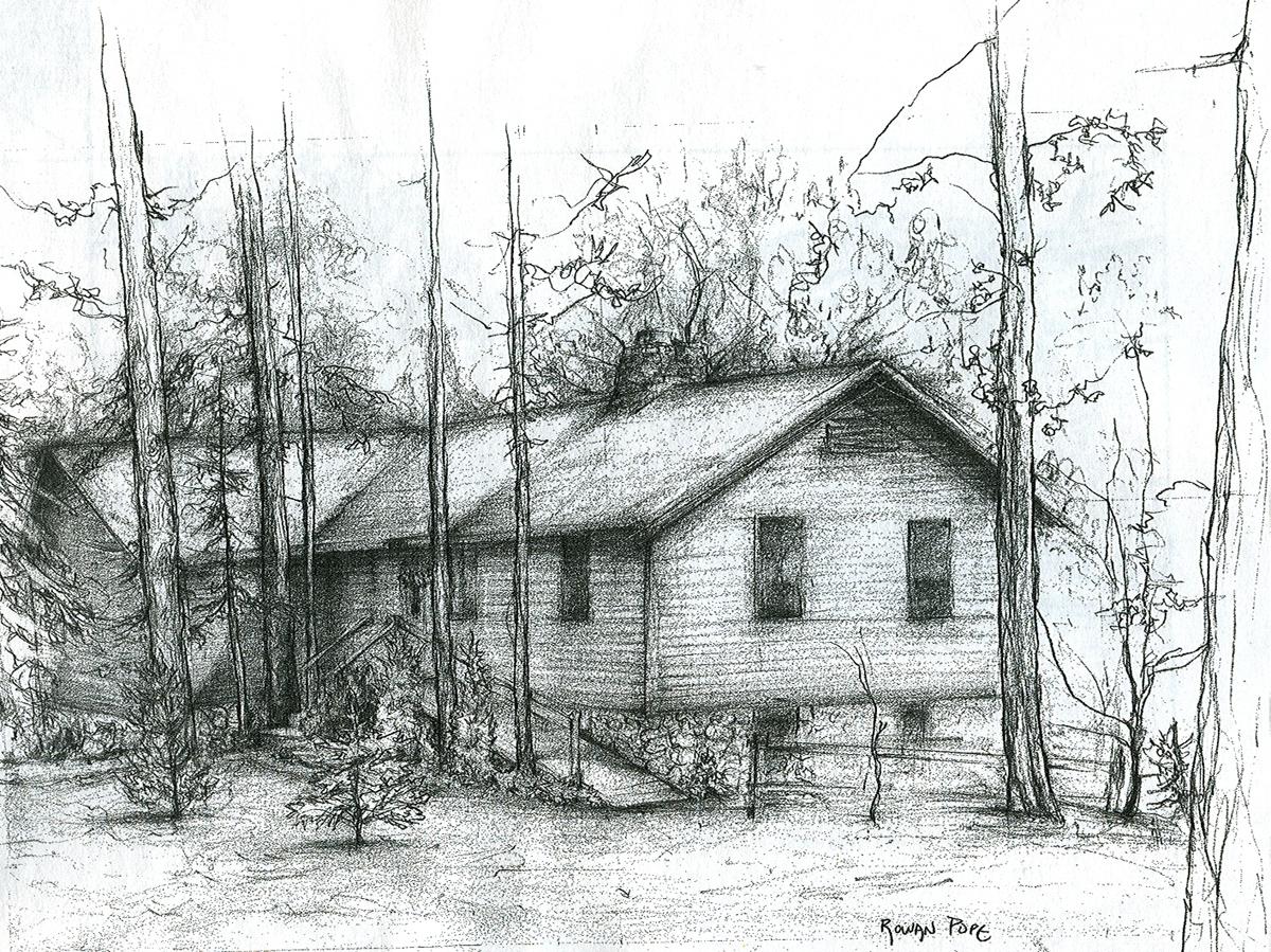 """Cabin, pencil, 12"""" x 18"""" - by Rowan Pope"""