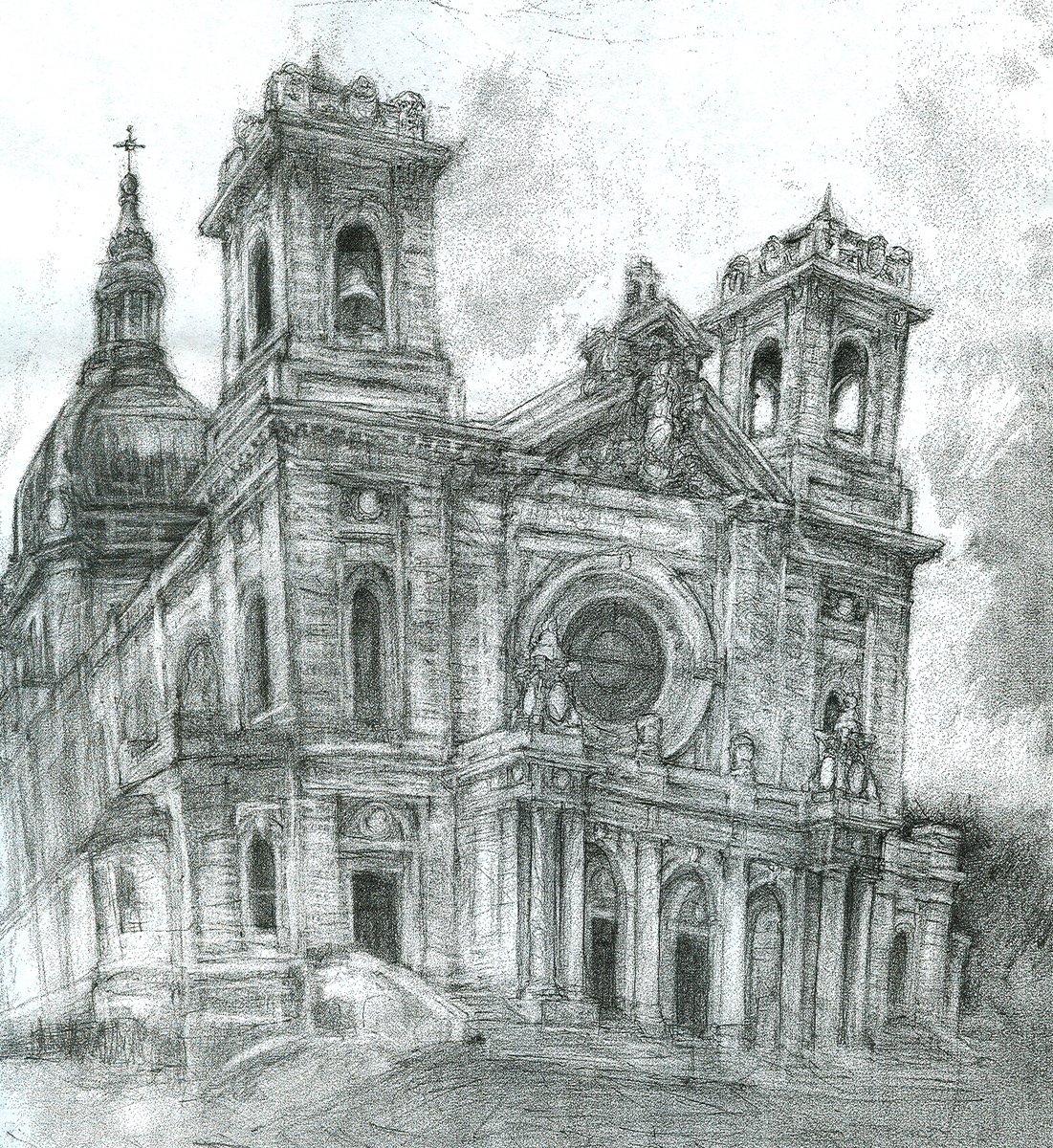 "Cathedral, pencil, 20"" x 18"" - by Rowan Pope"