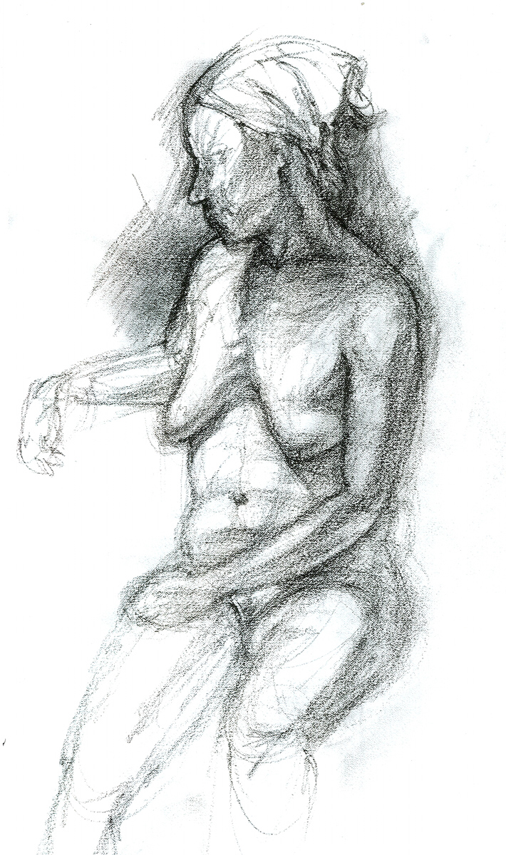 "Female Figure with Hat, charcoal, 18"" x 12"" - by Rowan Pope"