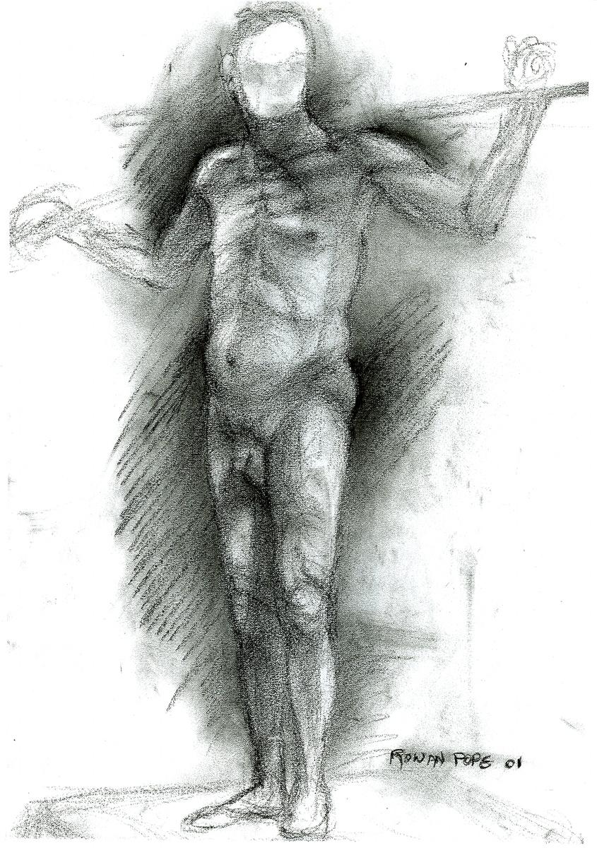 "Male Figure, charcoal, 18"" x 12"" - by Rowan Pope"