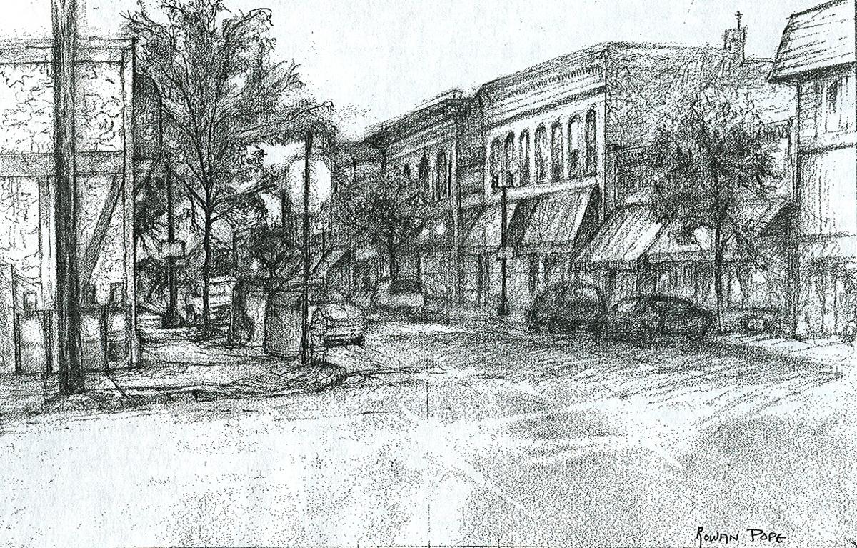 "Street 2, pencil, 9"" x 14"" - by Rowan Pope"