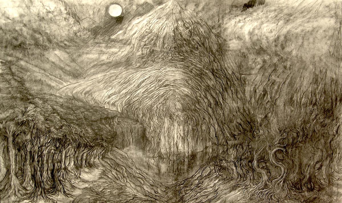 "Mountain, charcoal, 25"" x 45"" - by Rowan Pope"