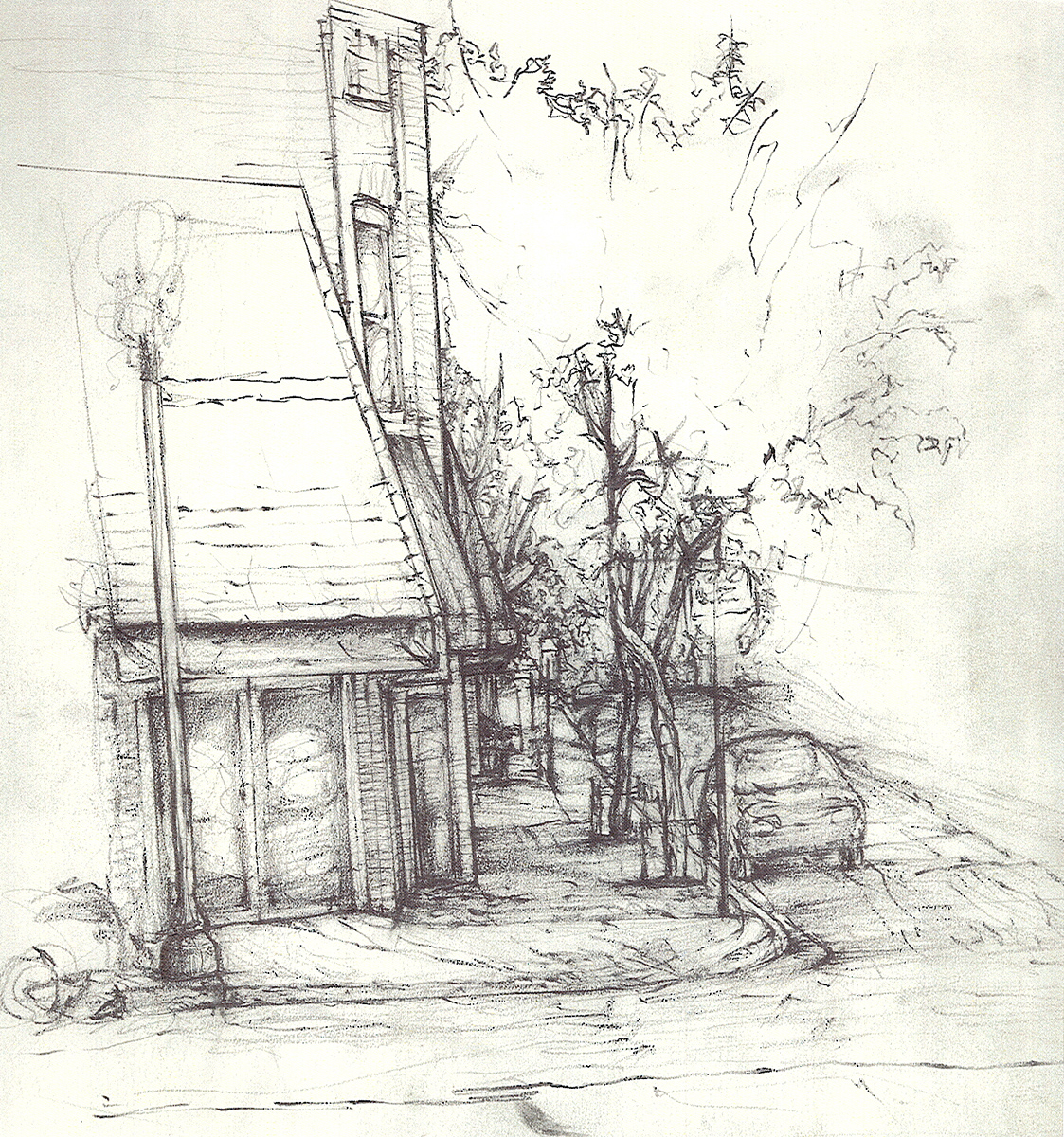 "Street 1, pencil, 12"" x 11"" - by Rowan Pope"