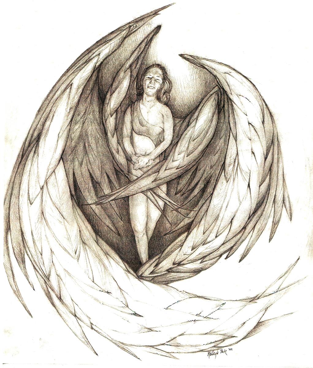 "Angel, pencil, 16"" x 14"" - by Rowan Pope"