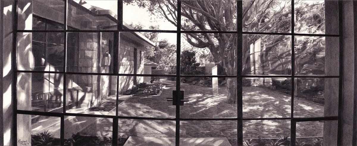 "Santa Barbara Windows, pencil, 7"" x 14"" - by Rowan Pope"