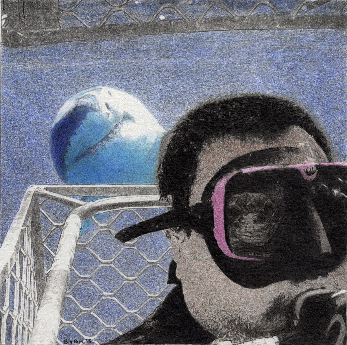"""Shark and Scuba Diver, colored pencil, 6"""" x 6"""" - by Bly Pope"""