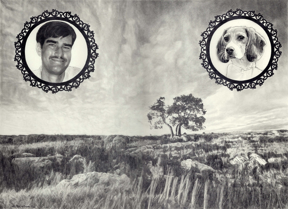 """Uncle Fred and Waggles, pencil, 13"""" x 16"""" - by Bly and Rowan Pope"""