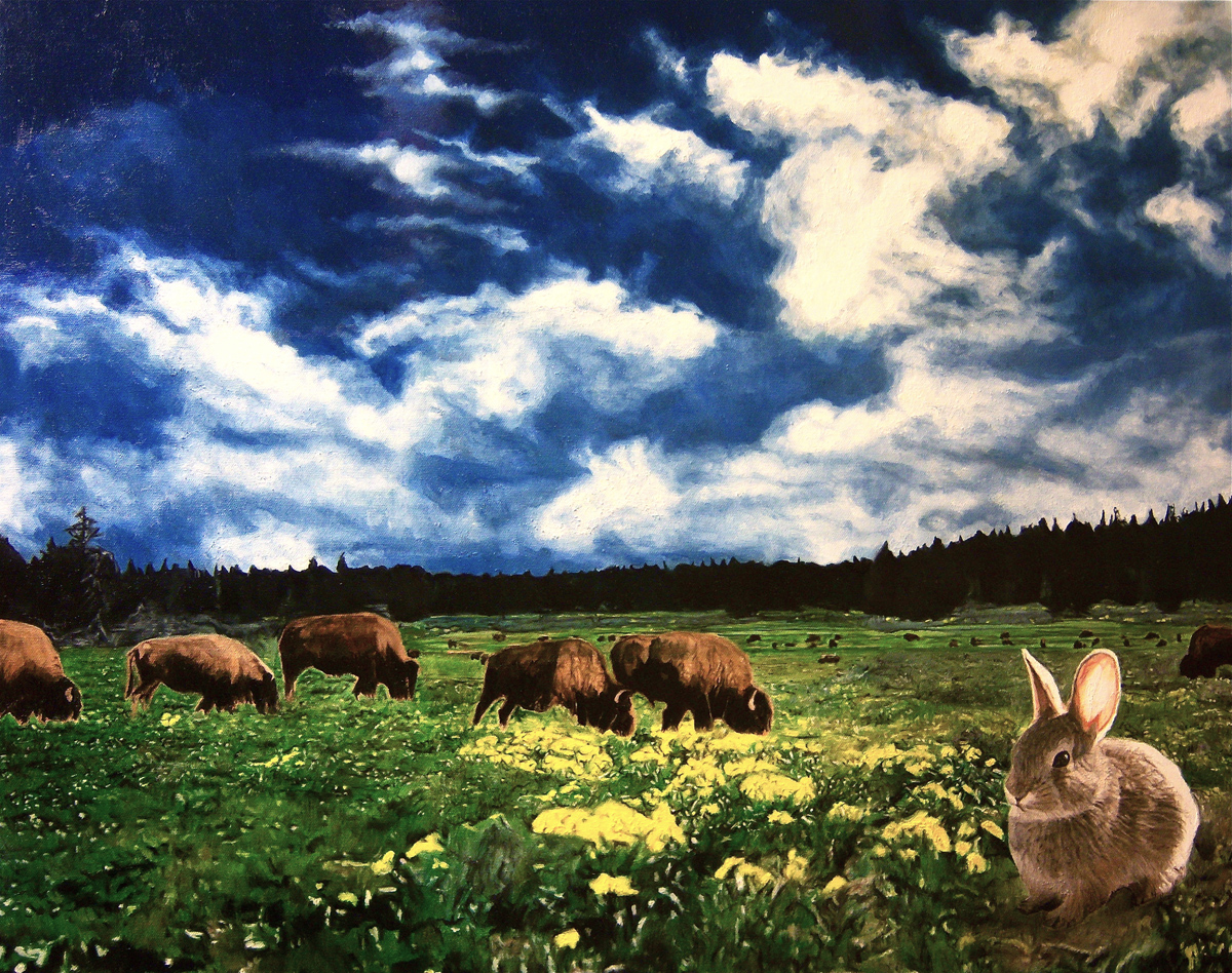 """Rabbit and Buffalos, oil, 30"""" x 24"""" - by Bly Pope"""