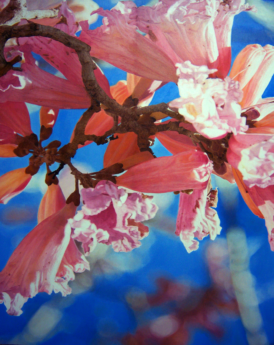 """Pink Flowers and Blue Sky, oil, 30"""" x 24"""" - by Bly Pope"""