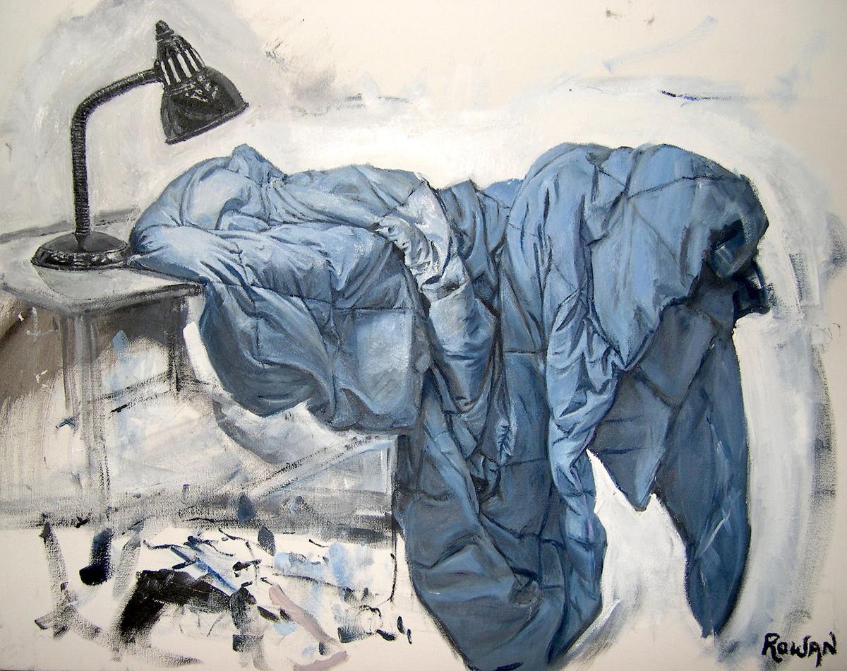 """Blue Blanket, oil, 22"""" x 28"""" - by Rowan Pope"""