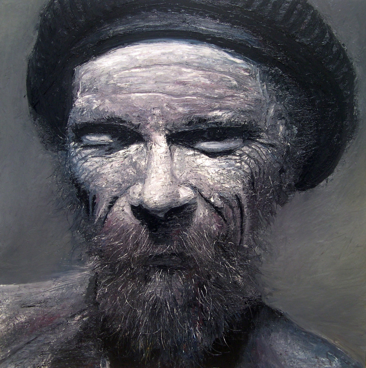 """Old Man, oil, 48"""" x 48"""" - by Bly Pope"""