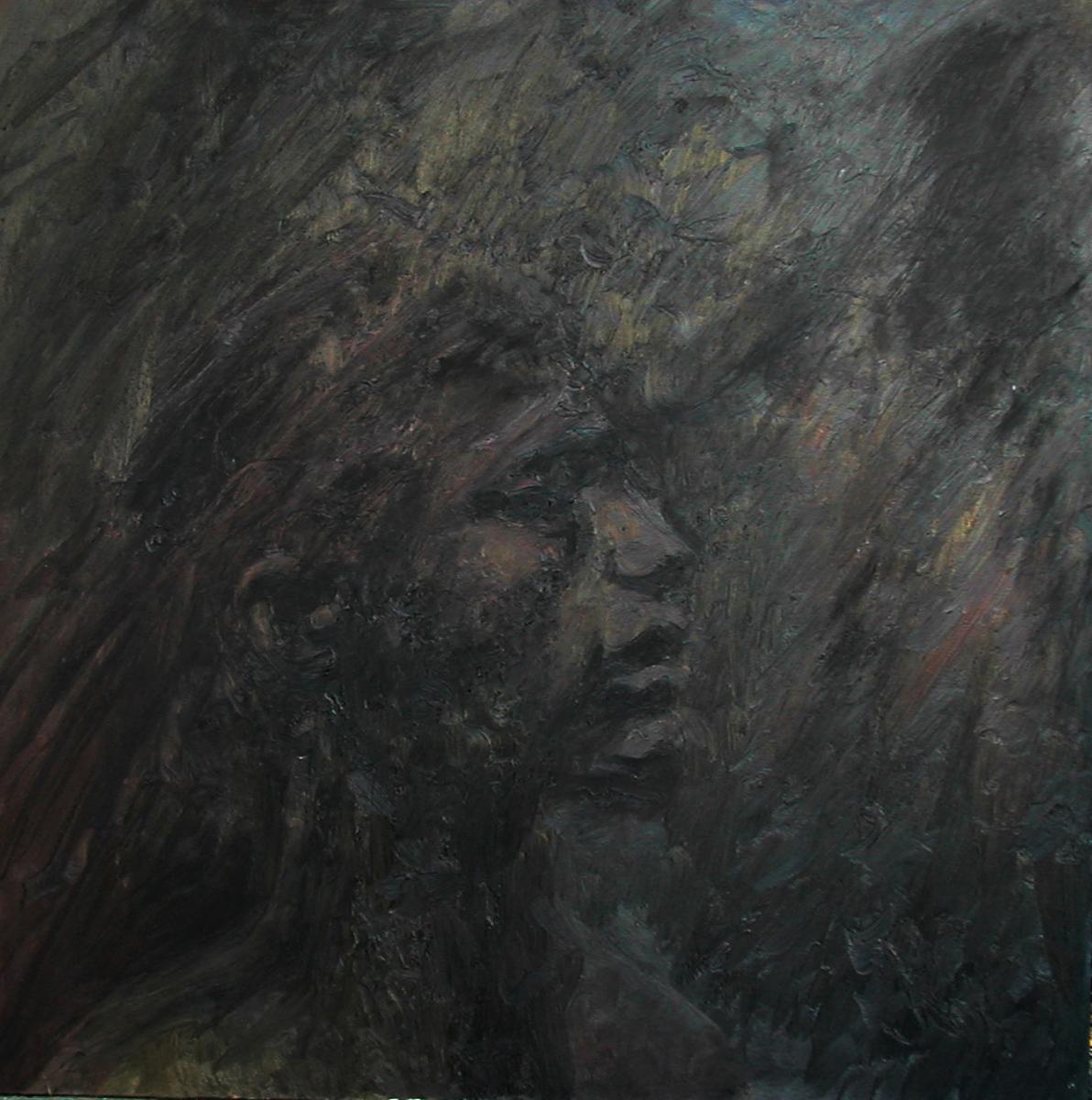 "Dark Man, oil, 40"" x 40"" - by Bly Pope"