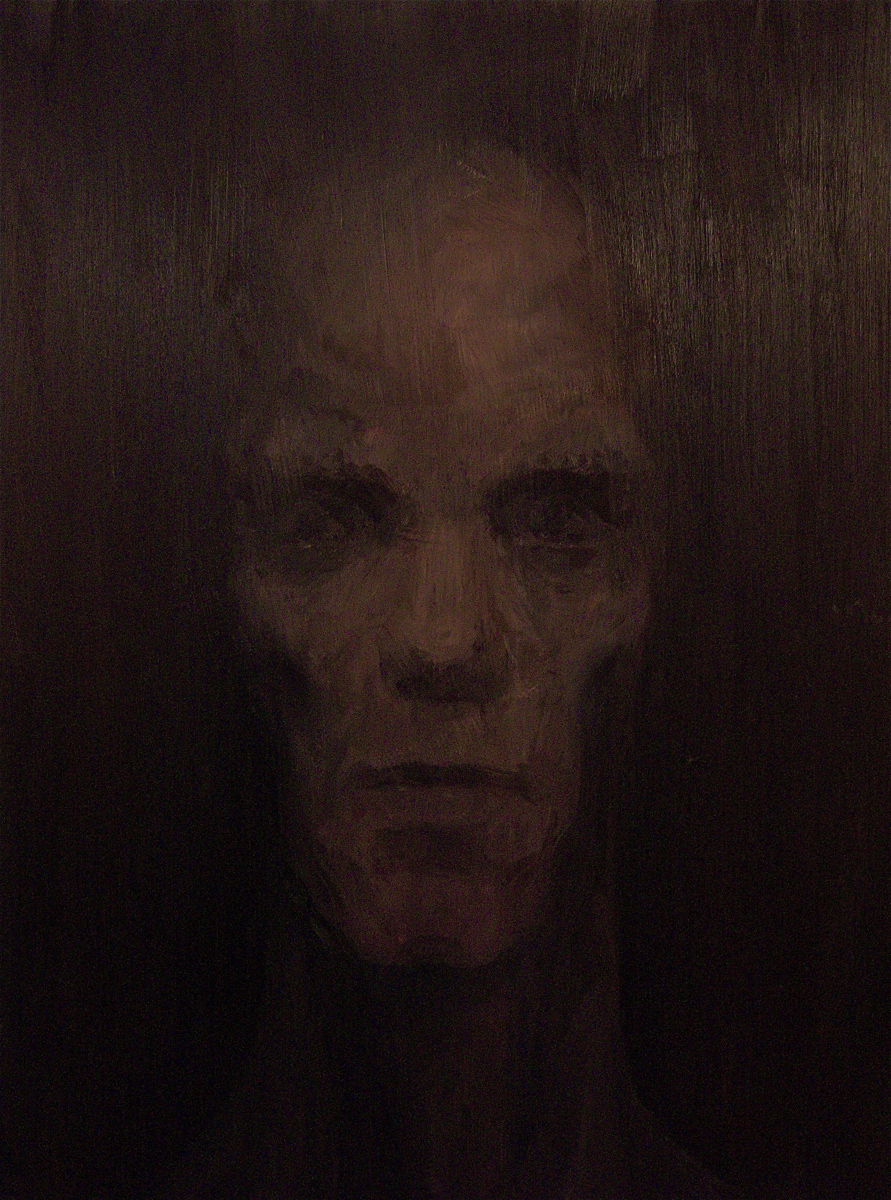 """Face in Darkness 2, oil, 48"""" x 36"""" - by Bly Pope"""