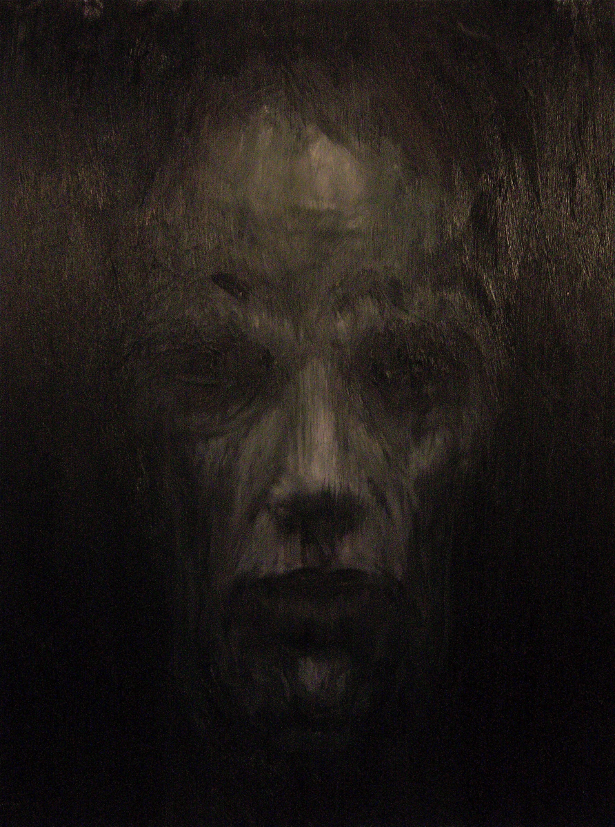 """Face in Darkness 3, oil, 48"""" x 36"""" - by Bly Pope"""