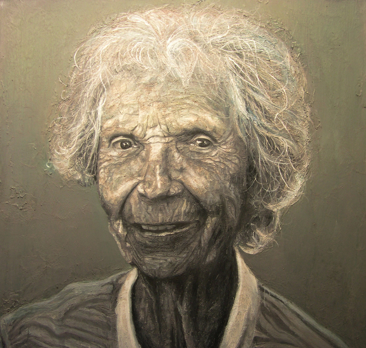 """Old Lady, oil on canvas, 48"""" x 48"""" - by Bly Pope"""