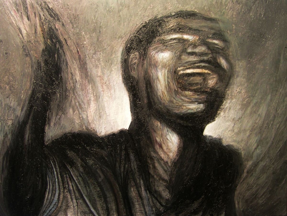 """Screaming Figure, 36"""" x 48"""" - by Bly Pope"""
