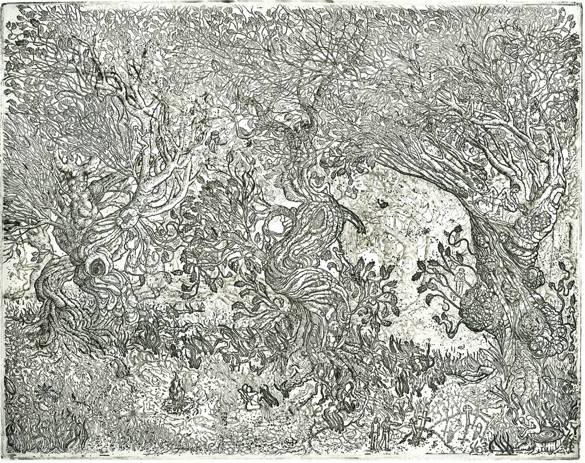 "Three Trees, etching, 11"" x 14"" - by Rowan Pope"