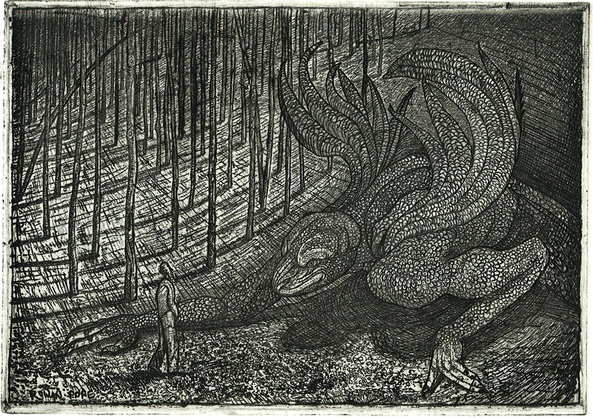 "Dragon, etching, 5"" x 7"" - by Rowan Pope"