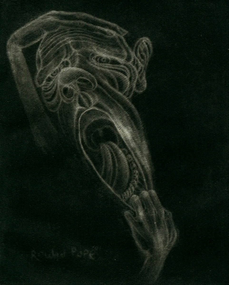 """Screaming Face, mezzotint, 5"""" x 4"""" - by Rowan Pope"""