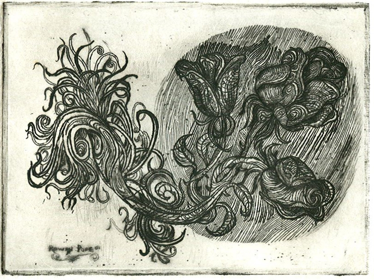 "Three Roses, etching, 3"" x 4"" - by Rowan Pope"
